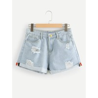 Blue Regular Mid Waist Denim Shorts