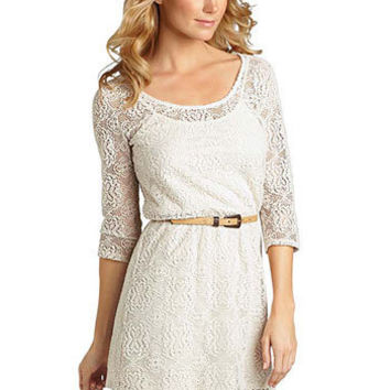 Faith Long-Sleeve Crochet Dress