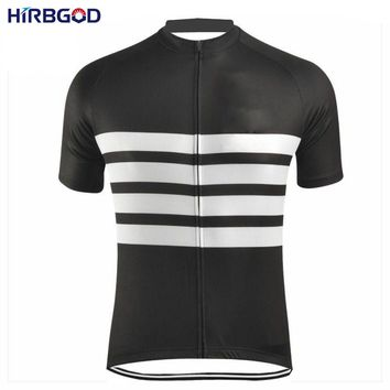 HIRBGOD 2017 Men Black White Stripe Cycling Jersey Summer Short Sleeve Retro Bicycle MTB Bike Clothes Breathable Wear Top,NM219