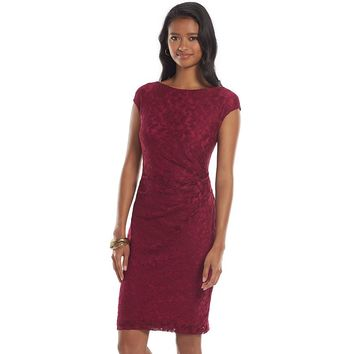 Chaps Lace Sheath Dress - Petite, Size: