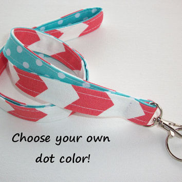Lanyard  ID Badge Holder - Lobster clasp and key ring - design your own coral chevron white polka dots aqua  two toned double sided