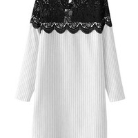 Striped Lace Embroidered Long Sleeve Mini Shift Dress