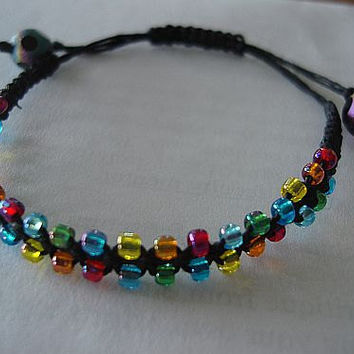 Colorburst Hemp Bracelet by AbsBeadsnBaubles on Etsy