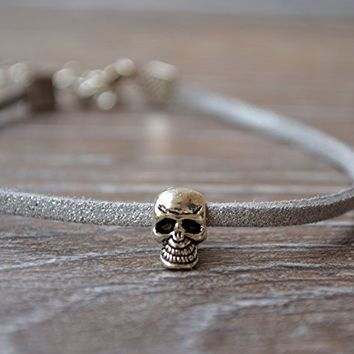 Mens leather bracelet Silver Skull pandora