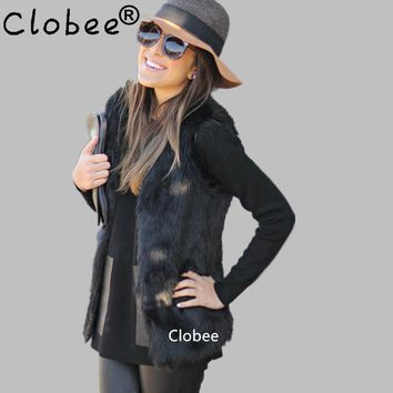 2017 Plus Size 5XL 6XL White Black Women's Faux Fur Gilet Coat Rabbit Mink Fox Fur Vest Medium-long V-Neck Fur Waistcoats Jacket