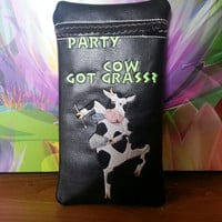 Custom Glass Pipe pouch. Party cow design