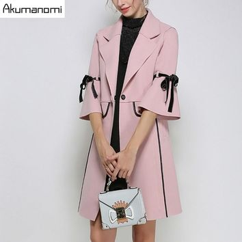 Winter Long Worsted Pink Turn-down Collar Blends Ribbons Flare Half Sleeve Autumn Spring Coats Women Clothes Overcoat Plus Size
