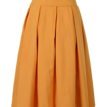 Yellow Bowknot Front Pleat Midi Skirt
