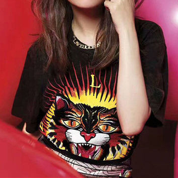 Personality Fashion Tiger Head Embroidery Print Short Sleeve T-shirt Shirt Top Tee