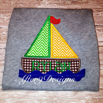 Boy Sailboat Applique Shirt Colors can be by AfterNineDesigns
