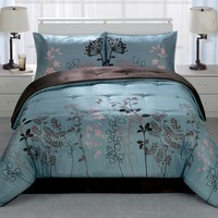 Idea Nuova Inc Botanica Blue 4 Piece Reversible Comforter Set Comforters