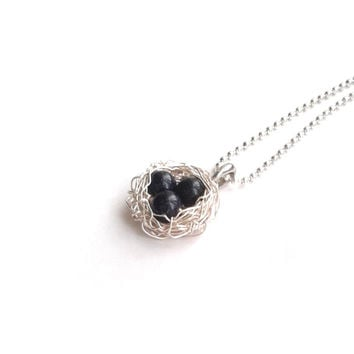 Wire Wrapped Blue Goldstone Bird Nest Necklace, Unique Wire Wrapped Jewellery, Blue Beads Wire Weave Pendant, Handmade Gemstone Necklace