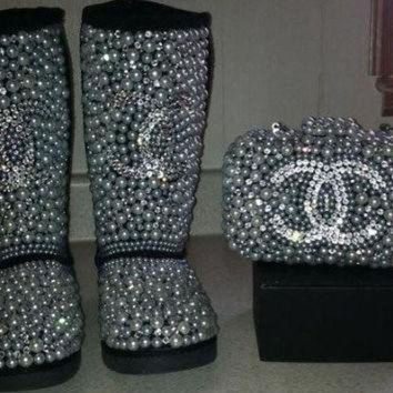 CHEN1ER Crystal Pearl Covered Kids Swarvoski Rhimestone Chanel logo Ugg boots snowboots