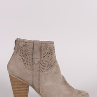 Qupid Perforated Patterned Chunky Heeled Booties