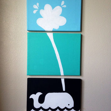 Three piece canvas ombré whale painting 8x10