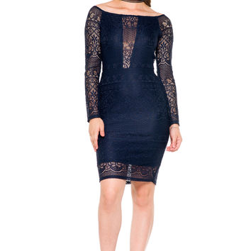 (akz) Lace off the shoulder sheer plunge dress