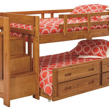 Dryden Twin Mid High Stairway Trundle Loft Bed