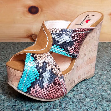 """Luichiny E Lectric Teal Tan Snake Cork Covered Wedge Sandal Shoe - 5"""" Heel"""