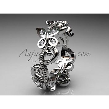 14kt white gold diamond floral butterfly wedding ring, engagement ring, wedding band ADLR138
