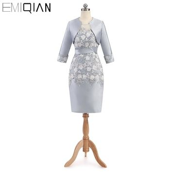 Best Selling Sheath Mother of the Bride Dresses with Three quarter sleeve Knee length Elegant Lace Women Evening Party dress
