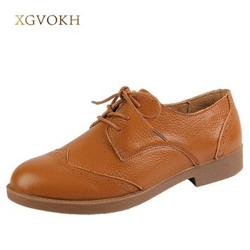 XGVOKH Women Oxfords Shoes Genuine Leather Round Toe Spring Autumn Solid Flats Woman zapatos mujer