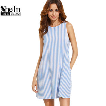 SheIn Women Dress Summer 2017 Casual Dress Ladies Blue and White Striped Sleeveless Shift Dress Summer 2017 Tank Dress