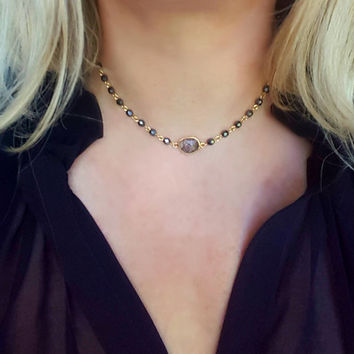 Black Rosary Choker, Black Gold Bead Necklace, Pendant Choker, Rutilated Quartz, Bohemian Fall Fashion, Layering Choker Necklace, Boho Gift