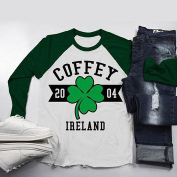 Personalized Irish Family Shirts St. Patrick's Day 3/4 Sleeve Customizable Raglan Tee Shirt