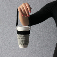 Knit cup cozy. Hands-free carrying. Starbucks cup sleeve. Gray black.  Office coffee cozy. Eco-friendly Father's day gift under 20. Handmade