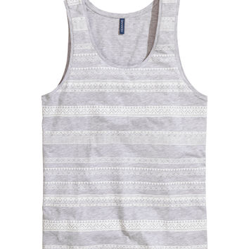 H&M - Tank Top with Printed Design - Light gray - Men