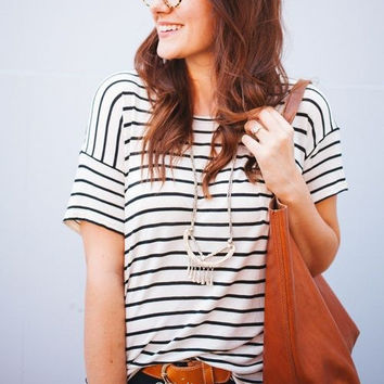 Fashion Stripe Short Sleeve Shirt Top Tee Blouse