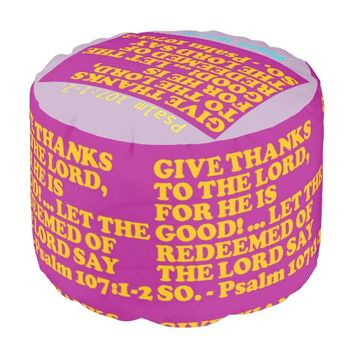 Bible verse from Psalm 107:1-2. Pouf