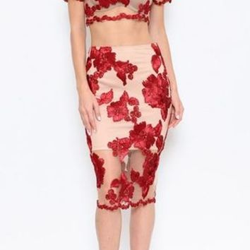 Ravishing Roses Beige Red Sheer Mesh Floral Embroidery Short Sleeve Crop Two Piece Bodycon Midi Dress