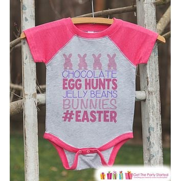 Girls Easter Outfit - #Easter Pink Raglan Shirt or Onepiece - Easter Egg Hunt - Easter Bunny - Baby, Toddler, Kids, Youth Novelty Raglan Tee