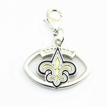 New Orleans Saints Silver lobster clasp Football Team logo Dangle Charm Pendant With DIY Sports Bracelet Necklace Jewelry