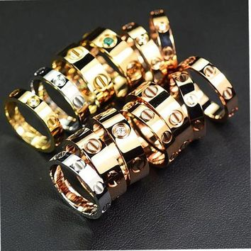 Cartier Stylish Ladies Men Ddelicate Diamond Ring Lovers Lovely Rings Rhinestone Ring