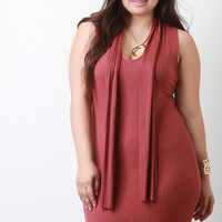 Ribbed Knit Attached-Scarf Bodycon Mini Dress