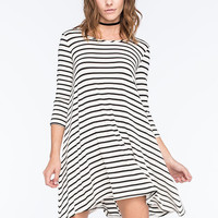 Socialite Striped Swing Dress White/Black  In Sizes