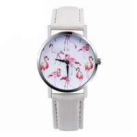 Women White and Pink Flamingo Leather Strap Analog Dial Wrist Watch