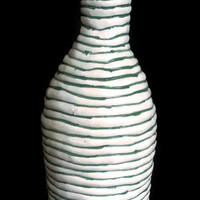 Ceramic bottle with cork- Container for wine, water, or liquid of choice.- Decorative green and white bottle-Pottery-groomsmen gift.