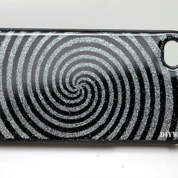 unique iphone 5 case iphone 4 case iphone 4s case Iphone 5s case 5c glitter Spiral Silver Black glittery Bling sparkly hard back case cover