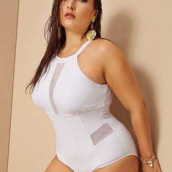 Plus Contrast Mesh Cut-out Back One Piece Swim