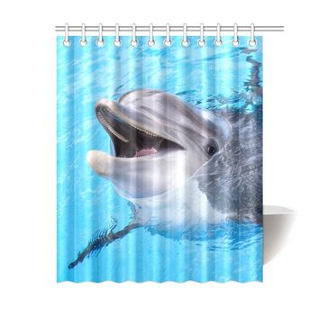 Dolphin Polyester Shower Curtain 60x72 inch