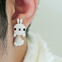 Cute Fluffy White Rabbit Clinging 100% Handmade Polymer Clay Earrings, Light Weight, Bunny, Handmade, unique, ideal gift, for her, Christmas
