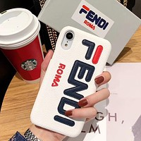 Fendi New fashion letter print couple leather protective cover phone case White