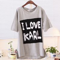 Spring Asymmetric I Love Karl Loose Tee