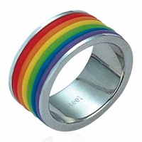 Gay Pride Striped Rainbow Ring -Size