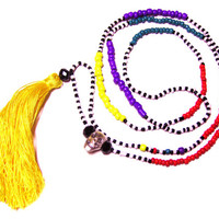 Long Yellow Tassel Necklace - Yellow and Purple Beaded Necklace - Fun Necklace - Hippie Necklace