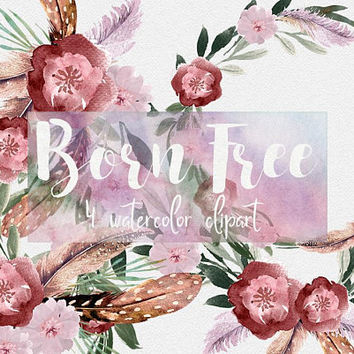 Born free | boho flowers, watercolor flowers, clip art, flowers png, boho bouquets, wedding clipart, boho chic clipart, pink red florals