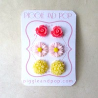Pink and Yellow Flower Stud Earrings Set- Rose + Daisy